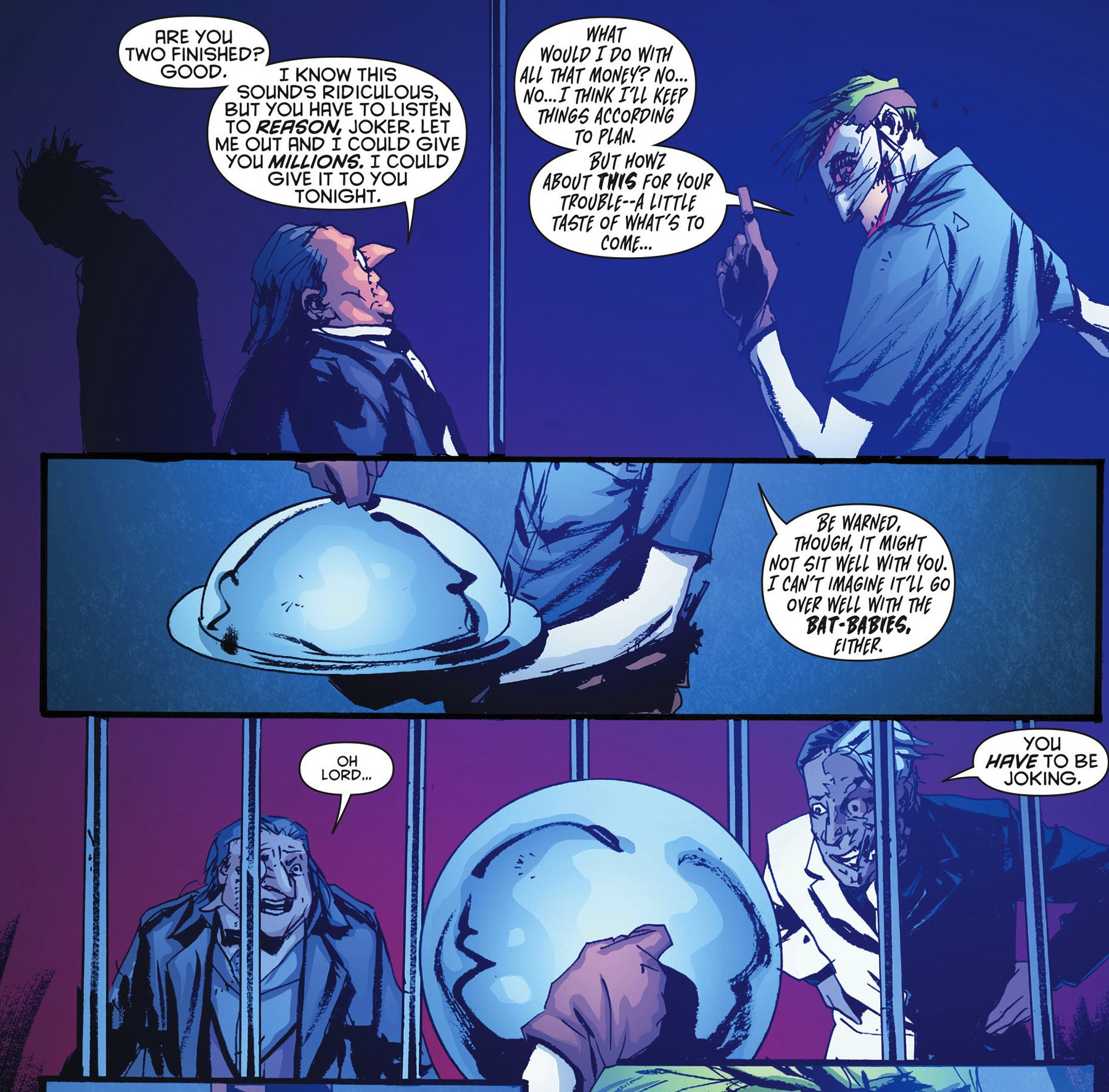 """2. """"Batman #16"""" More of the issue's backup implying that Penguin has been trapped in Arkham by Joker."""