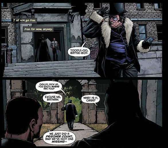"""8. """"Detective Comics #18"""" Penguin finally gets outta stir.  Wait a minute!  Penguin was already out of Arkham for X-Mas with the Scarecrow!?  And didn't Ogilvy take over his operations during """"Death of the Family""""?  Why doesn't Penguin know this yet?"""