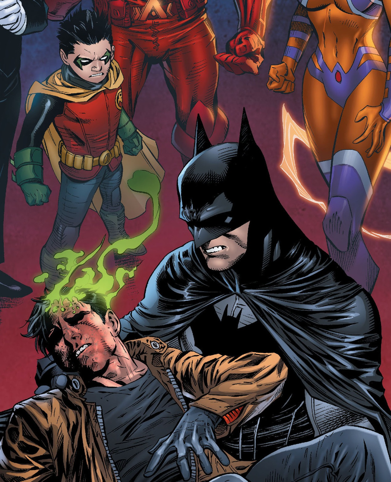"""4. """"Red Hood & The Outlaws #17"""" The """"Death of the Family Aftermath"""" ends with Jason's face getting horribly mutilated.  Damian is not amused, but he is definitely alive."""