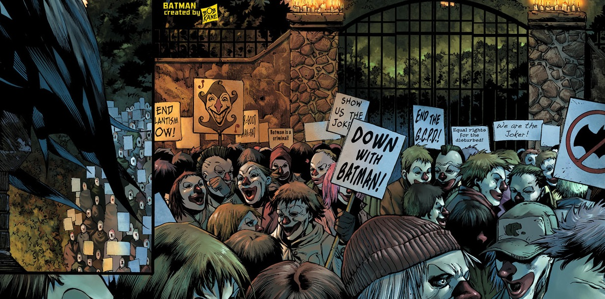 Detective Comics #5: Occupy movement protests Batman's illegal mistreatment of criminals.