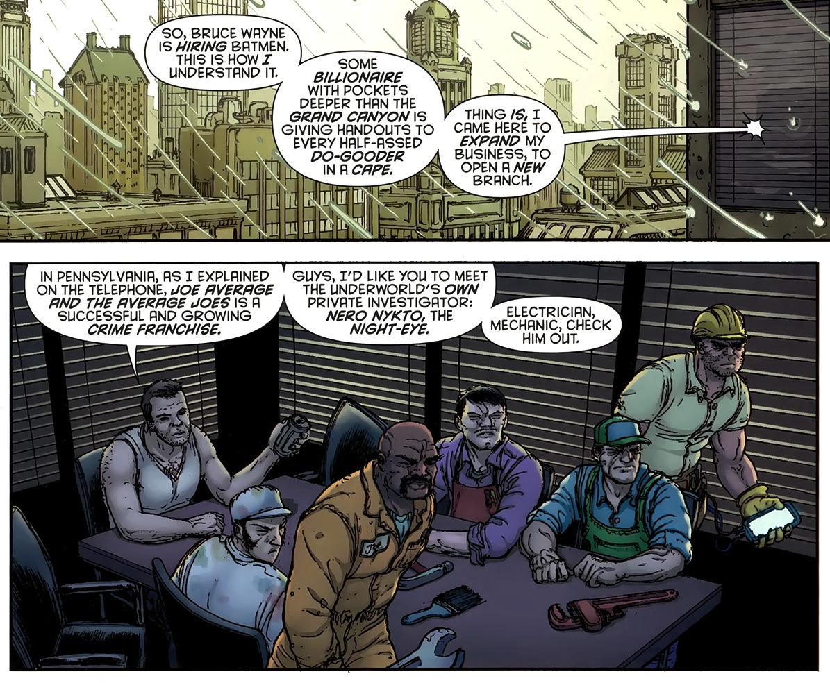 Batman Inc Vol. 1 #6: It appears to me that AVERAGE JOES represent, well, AVERAGE JOES.