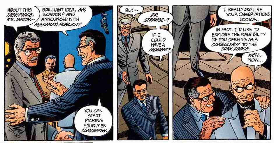 LOTDK #11: Mayor Wilson Klass. This klassy guy thinks Batman is bad for business, but Hugo Strange is totally dope.