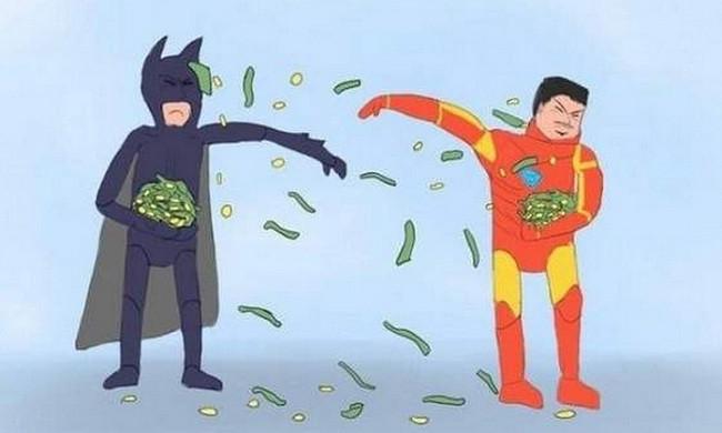 batman iron man money fight collin colsher