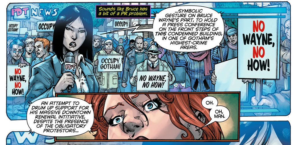 Batgirl #5: The Occupy movement protests Bruce Wayne.