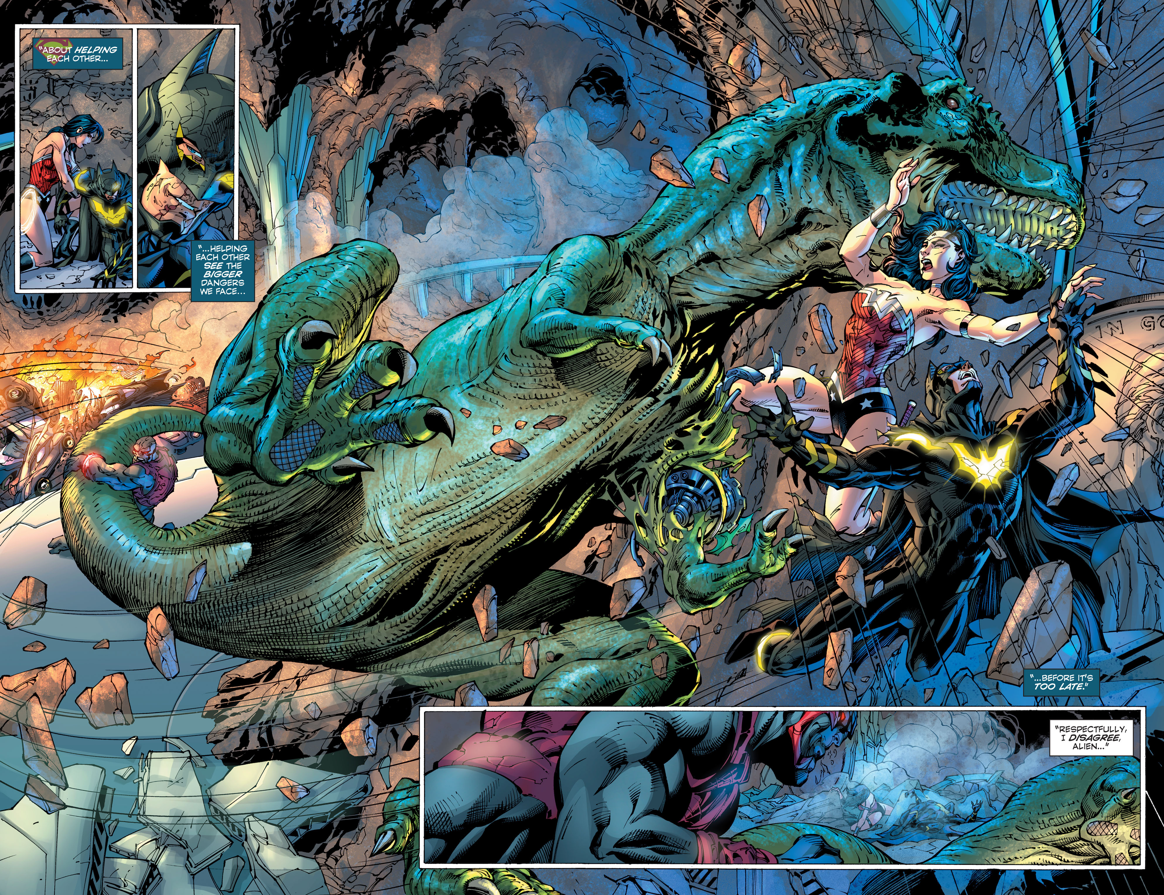 Superman Unchained #7. The T. Rex goes extinct? Or will we see his snarling robot face again?