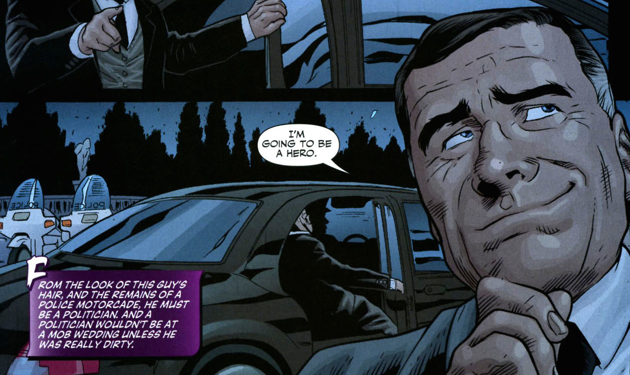 Huntress: Year One #5: Mayor Hamilton Hill. Is this the one and only appearance of Ham Hill in the Modern Age? I think it is! But we'll never truly know.